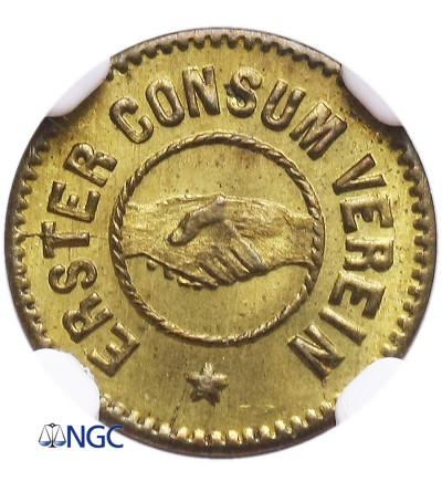 Russia. Riga Token 1 (Marka) 1865, Erster Consum Verein / Riga MDCCCLXV - NGC MS 65