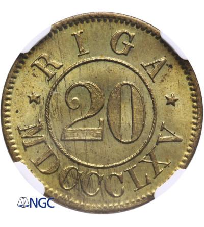 Rosja. Ryga Token 20 (Marek) 1865, Erster Consum Verein / Riga MDCCCLXV - NGC MS 65