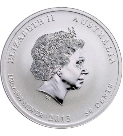 Australia 50 centów 2013 P, Zodiak Rok Węża,  zielony wąż, emisja na Berlin World Money Fair