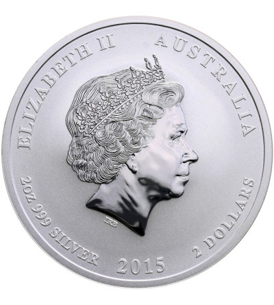 Australia 2 dolary 2015 P, Zodiak Rok Kozy (2 Oz Ag .999)