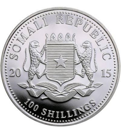 Somalia 100 szylingów 2015, Słonie (platerowane złote)