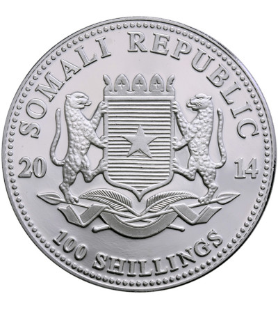Somalia 100 szylingów 2014, Słonie (platerowane złote)