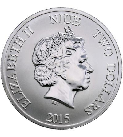 Niue 2 dolary 2015, żółw (platerowany złotem)
