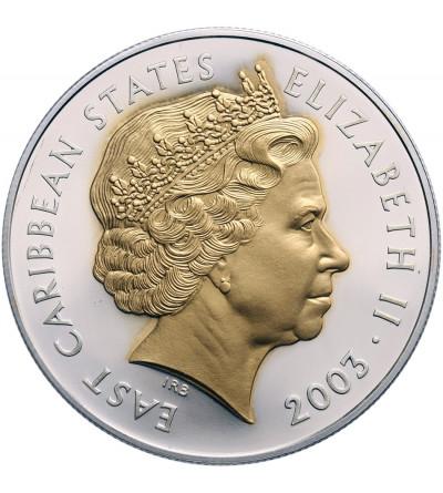 Karaiby Wschodnie 10 dolarów 2003, Royal Maundy Design - portret królowej platerowany złotem