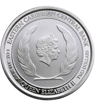 Karaiby Wschodnie 2 dolary 2018, Antigua & Barbuda (1 Oz Ag)