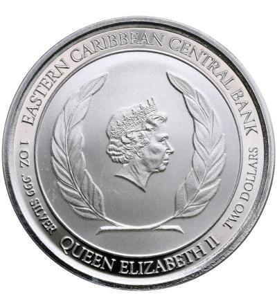 Karaiby Wschodnie 2 dolary 2018, Dominica (1 Oz Ag)