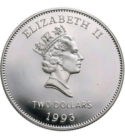 Bermudy 2 dolary 1993, 200 lat monet na Bermudach - Proof