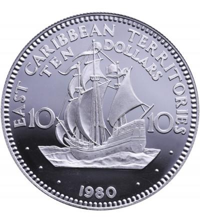 Karaiby Wschodnie 10 dolarów 1980, 10 lat istnienia Caribbean Development Bank - Proof