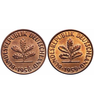 Germany Federal Republic 2 Pfennig 1958 F, 1959 G