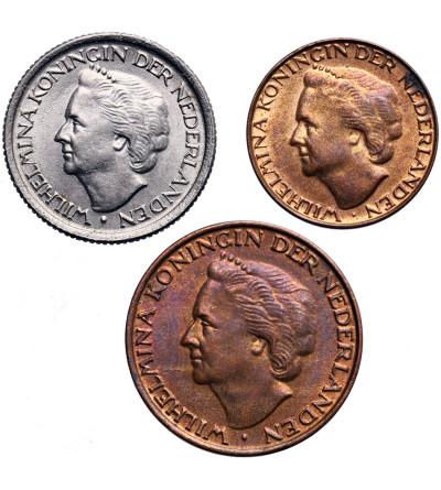 Holandia 1, 5, 25 centów 1948 - zestaw 3 sztuki