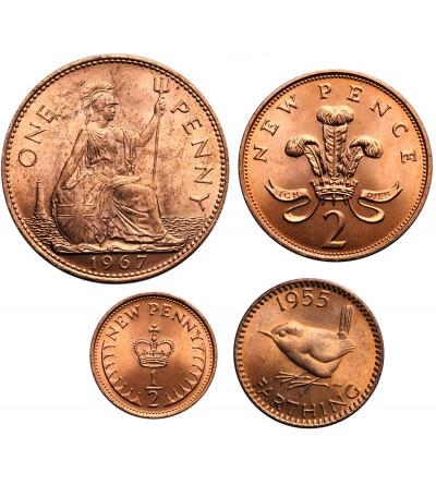 Wielka Brytania zestaw monet 1955-1971 - 4 sztuki