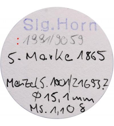 Rosja. Ryga Token 5 (Marek) 1865, Erster Consum Verein / Riga MDCCCLXV - NGC MS 64