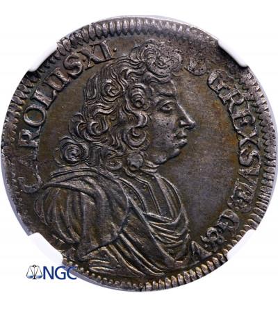 Pomorze - okupacja szwedzka. Gulden (2/3 talara) 1690 ILA, Szczecin - NGC MS 63