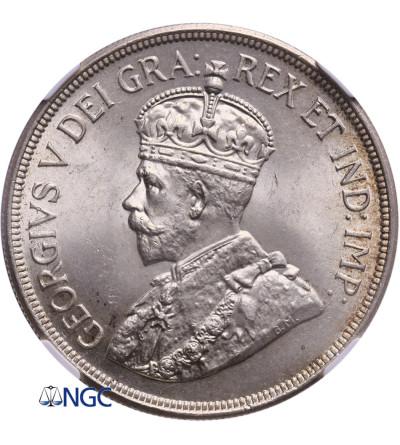 Cypr 45 Piastres 1928, Jerzy V - NGC MS 64