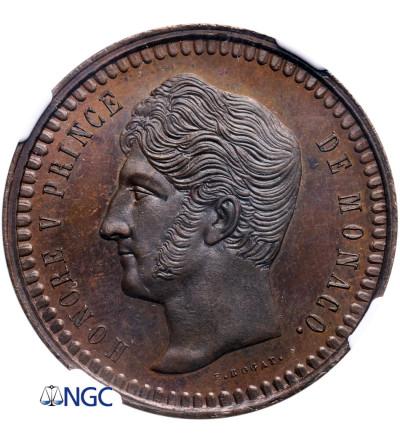 Monaco 10 Centimes (Decime) 1838 MC, Copper Pattern E.ROGAT, - NGC MS 66 BN