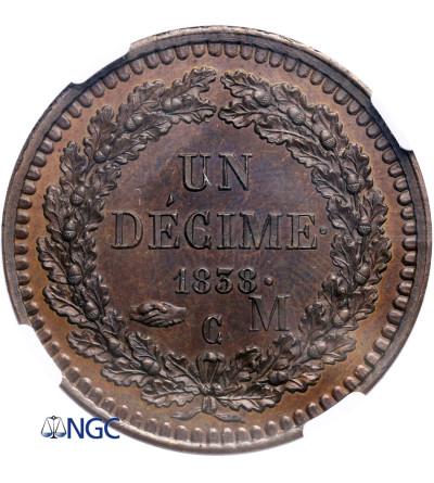 Monako 10 Centimes (Decime) 1838 MC, próba E.ROGAT - NGC MS 66 BN
