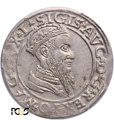 Czworak (4 grosze) 1566, Wilno. Zygmunt II August 1544-1572, PCGS AU 55