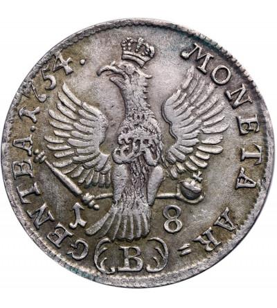 Prusy 18 krajcarów 1754 B, Wrocław, Fryderyk II Wielki - bite dla Śląska