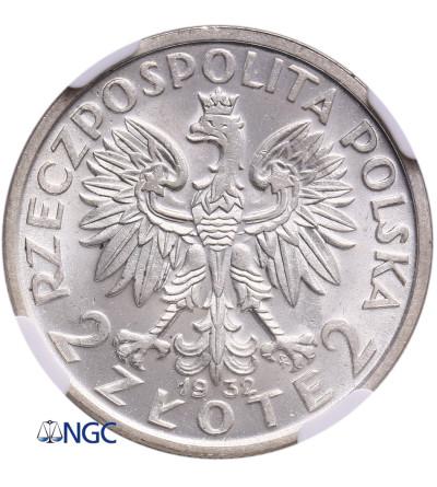 Polska 2 złote 1932, Warszawa, głowa kobiety - NGC MS 63
