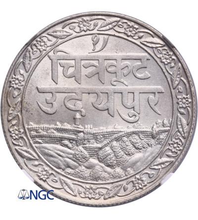 India - Mewar Rupee VS 1965 / 1928 AD - NGC MS 63
