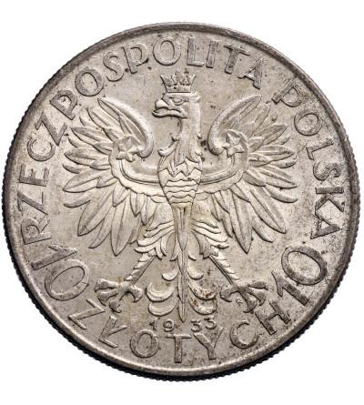 Polska 10 złotych 1933, Warszawa - głowa kobiety