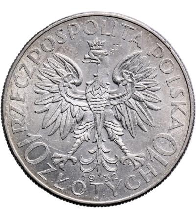 Polska 10 złotych 1932, Warszawa - głowa kobiety ze znakiem mennicy