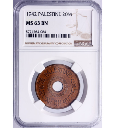 Palestyna 20 Mils 1942 - NGC MS 63 BN