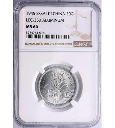 French Indo-China 20 Cents 1945, Essai - NGC MS 66