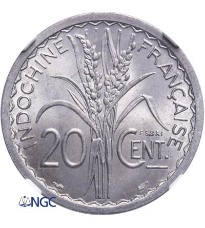 Indochiny Francuskie 20 Centów 1945, Essai (próba) - NGC MS 66