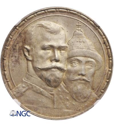 Rosja 1 rubel 1913, St. Petersburg, 300 lat dynastii Romanowych - NGC MS 64