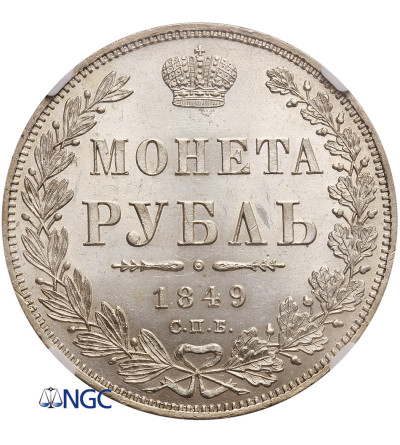 Rosja. Rubel 1849 СПБ-ПA, St. Petersburg - NGC MS 62