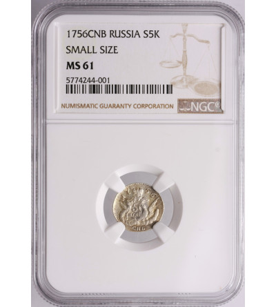 Rosja 5 kopiejek 1756 СПБ, St. Petersburg - NGC MS 61