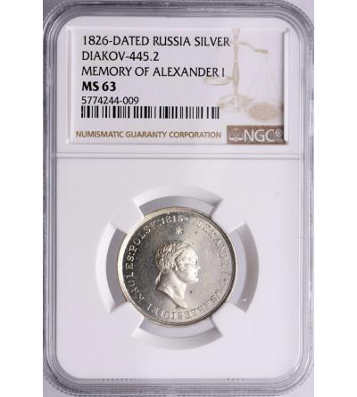 Polska / Rosja. Medal 1826 wybity dla upamiętnienia cara Aleksandra I - NGC MS 63
