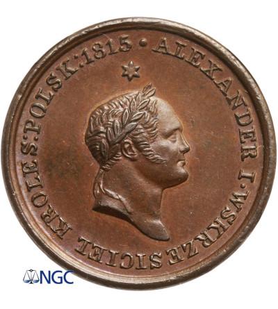 Polska / Rosja. Medal 1826 wybity dla upamiętnienia cara Aleksandra I - NGC MS 64 BN