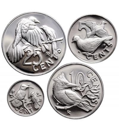 Brytyjskie Wyspy Dziewicze 1, 5, 10, 25 centów 1977, Srebrny Jubileusz Elżbiety II - Ag Proof
