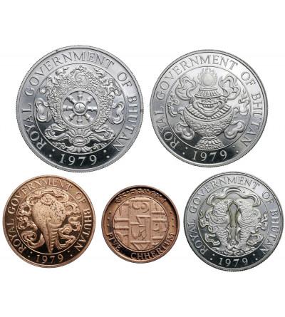 Bhutan 3, 10, 25, 50 Chhertum 1 Ngultrum 1979 - zestaw Proof