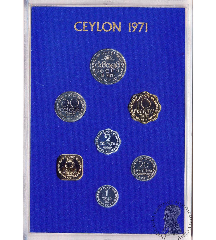 Cejlon 1, 2, 5, 10, 25, 50 centów 1 rupia 1971 - zestaw Proof
