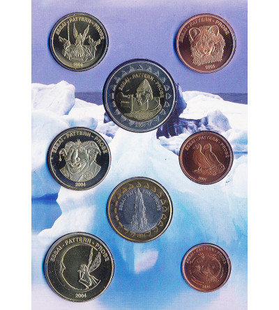 Iceland 1, 2, 5, 10, 20, 50, 1, 2 Europ 2004 - set Fantasy Europroben / Pattern, Condition BU, origial blister