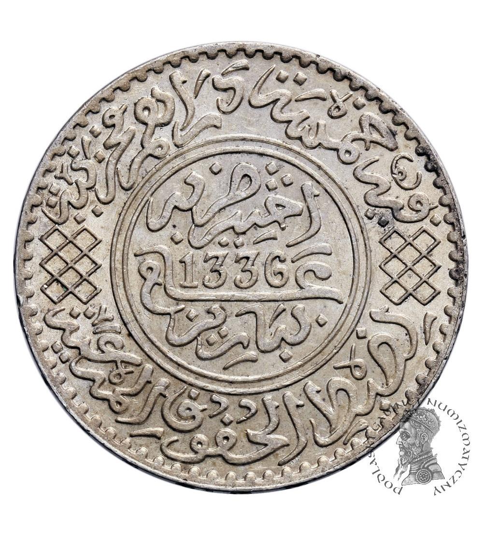 Maroko 1/2 Rial (5 Dirhams) AH 1336  / 1917 AD, Yusuf