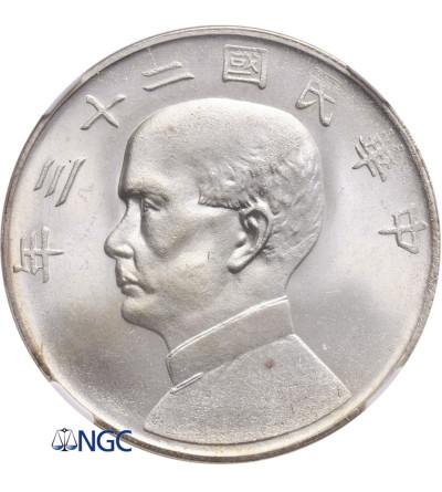 Chiny Republika 1 dolar rok 23 (1934), Dżonka - NGC MS 64