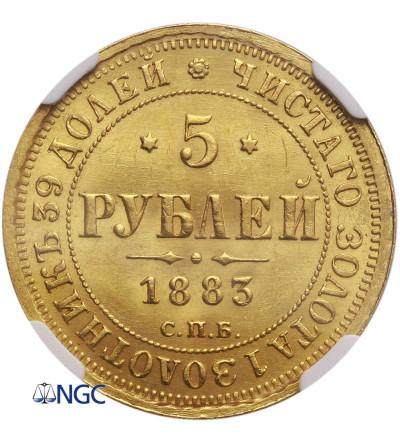 Rosja 5 rubli 1883 ДС, St. Petersburg, Aleksander III - NGC MS 63