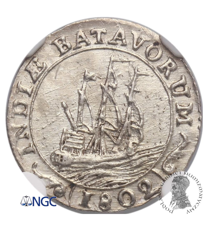 Wschodnie Indie Holenderskie 1/16 guldena 1802, Republika Batawska - NGC MS 62