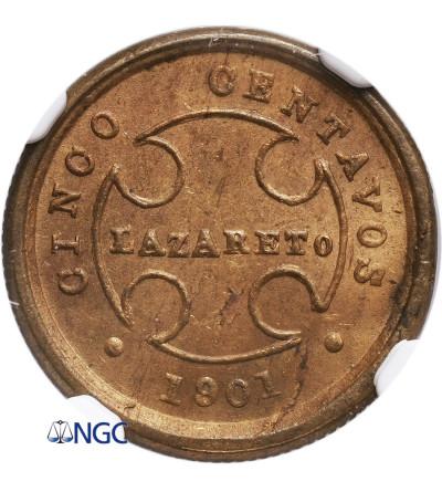 Kolumbia 5 Centavos 1901, Bogota (Lazaret dla trędowatych) - NGC MS 64