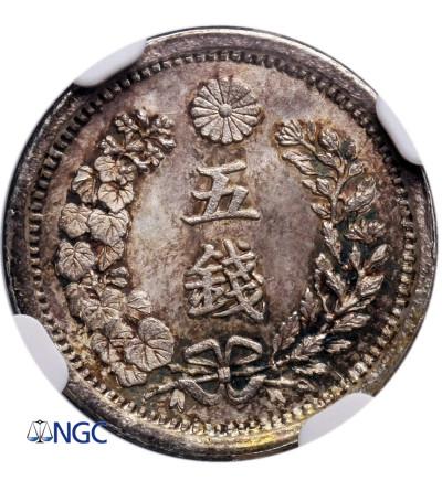 Japonia 5 Sen rok 8 / 1875 AD - NGC MS 66