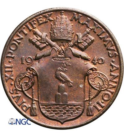 Watykan 10 Centesimi 1940 AN II, Pius XII - NGC MS 66