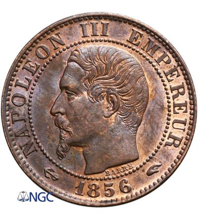 Francja 5 Centimes 1856 A, Paryż, Napoleon III - NGC MS 64 BN