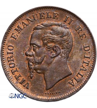 Włochy 5 Centesimi 1861 M, Mediolan, Vittorio Emanuele II - NGC MS 63 BN