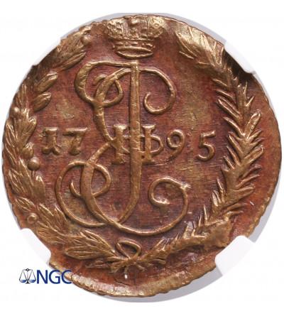 Rosja Denga (1/2 kopiejki) 1795 EM, Jekaterinburg, Katarzyna II Wielka - NGC AU 58