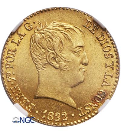 Hiszpania 80 Reales 1822 M SR, De Vellon, Ferdynand VII - NGC MS 63
