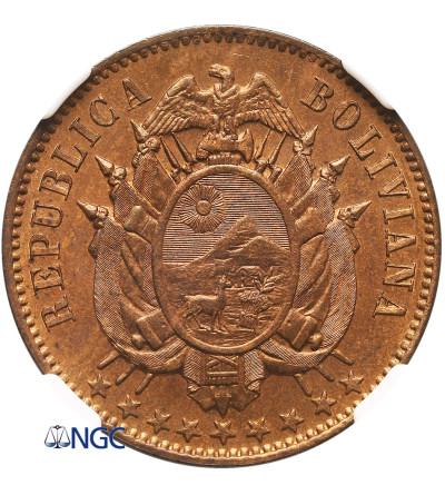 Boliwia 2 Centavos 1883 A, Paryż - NGC MS 65 RB